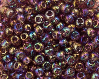 "Transparent Rainbow Medium Amethyst Toho Seed Bead 11/0 2.5"" Tube TR-11-166B/C"