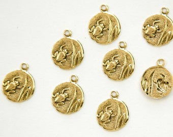 Antiqued Gold Plated Frog in Reeds Charm Drops with Loop (8) chr051K DISCONTNUED