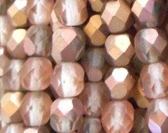 Czech Faceted Matte Apollo Gold Firepolish Glass Beads 6mm (25)