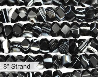 "30% OFF Dakota Stones Sardonyx 7x12 Faceted Nuggets Gemstones. 8"" Strand. SDX7x12NUG-F-8"