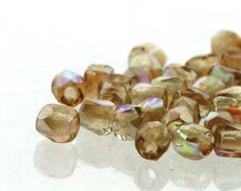 True 2 Czech Crystal Brown Rainbow Faceted Fire Polished Glass Beads 2mm (200+/-)