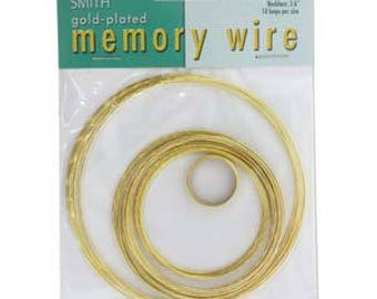 Beadsmith Gold Plated Memory Wire Assorted Sizes