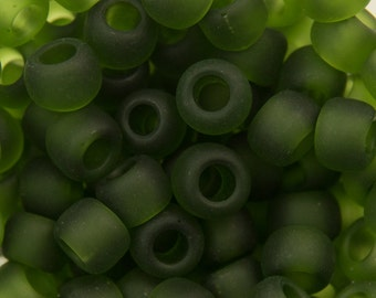 """Transparent Frosted Olivine Toho Seed Bead (8g) 6/0 2.5"""" Tube TR-06-940F/C"""