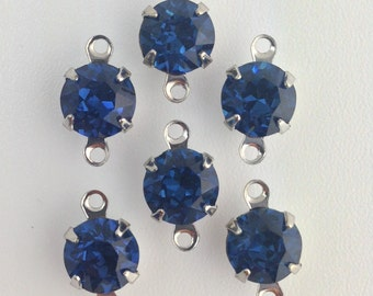 Vintage Montana Blue Faceted Glass Stone 2 Loop Silver Setting Drops 7mm (6) rnd003FF2