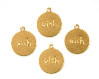 WISH Round Raw Brass Word Charm Drop with Loop (8) chr192F
