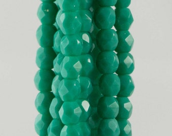 Firepolish Czech Faceted Persian Turquoise Glass Beads 3mm (50)