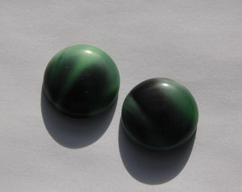 Vintage German Green and Black Glass Cabochons cab478