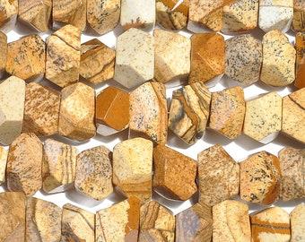 "Dakota Stones Picture Jasper 7x12 Faceted Nugget Gemstones. 8"" Strand. PJR7x12NUG-F-8"