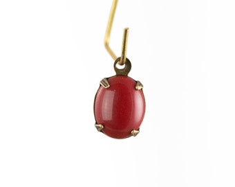 Vintage Opaque Red Oval Stones in 1 Loop Brass Ox Setting 10x8mm (4) ovl017F