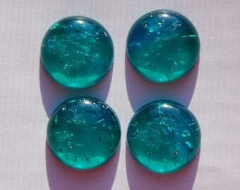 Vintage Blue and Green Lucite Cabochons with Confetti 18mm (4) cab500