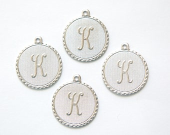 Matte Silver Plated Letter K Initial Charm Drop with Loop (4) chr196K
