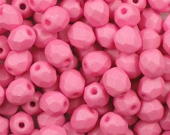 Czech Faceted Saturated Pink Firepolish Glass Beads 6mm (25)