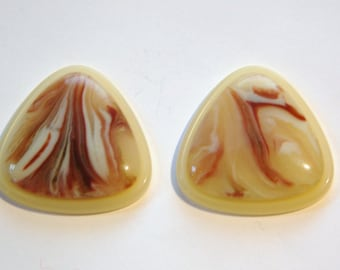 Vintage Reddish Brown and Cream Swirl Triangle Cabochons cab667C