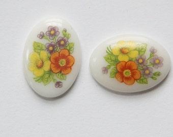 Bouquet Flowers Vintage Glass Cabochons Japan 18mm x 13mm cab424K