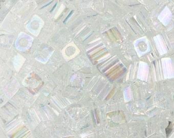 Translucent Rainbow Clear Miyuki Cube Seed Bead 4mm 20gm Tube SB4-250-TB