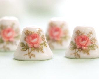 Vintage Pink Rose on White Glass Bell Beads Japan 12mm (4) jpn011A
