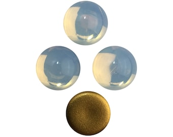 Vintage White Opal Glass Cabochons 13mm (4) cab2006F