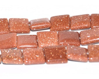 "Dakota Stones Goldstone 12mm Square Gemstones. 8"" Strand. GLD12SQU-8"