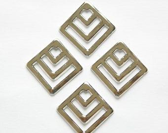 Silver Plated Square Chevron Charm Pendant (6) mtl404B