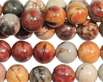 "Dakota Stones Red Creek Jasper 8mm Round Gemstones. 8"" Strand. RCJ8RD-8"