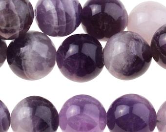 "Dakota Stones Dog Teeth Amethyst 10mm Round Gemstones. 8"" Strand. DTA10RD-8"