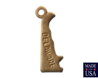 Raw Brass Tiny Delaware State Charm Drops 13x5mm (6) chr201AB