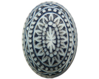 Vintage Etched Mosaic Navy Blue and White Cabochons 18x13mm (6) cab714D