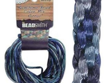 Kumihimo Rattail Color Mix Blue Tones, 4 Braids x 3 Yards each, 1mm Diameter