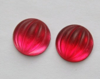 Matte Rose Ribbed Melon Glass Cabochons 15mm cab451G