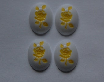 Vintage Yellow on White Rose Cabochons cab032A