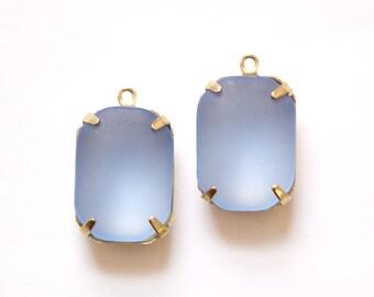 Vintage Matte Blue Glass Stones 1 Loop Brass Settings 18mm x 13mm squ004B
