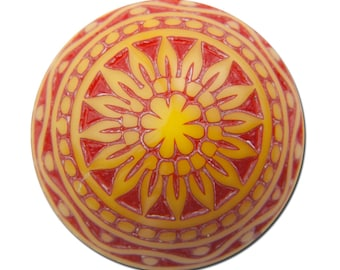 Vintage Etched Mosaic Red Orange and Yellow Cabochons 14mm cab713E
