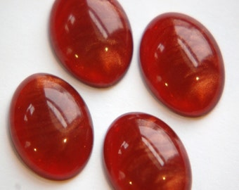 Vintage Lucite Rose Red Cabochons with Metallic Gold Swirls cab766A