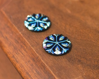 Black with Iridescent Snowflake Etched Czech Glass Cabochon 18mm (2) cab904B