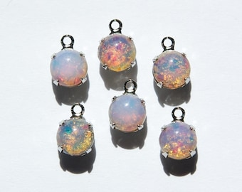 Vintage Opal Glass Stone 1 Loop Silver Plated Setting Drops rnd003C