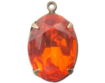 Vintage Faceted Hyacinth Orange Stones 1 Loop Brass Ox Setting 18x13mm ovl015AB