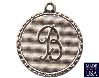Silver Plated Letter B Initial Charm Drop with Loop (4) chr220B