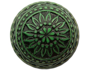 Vintage Etched Mosaic Green and Black Cabochons 18mm (2) cab710