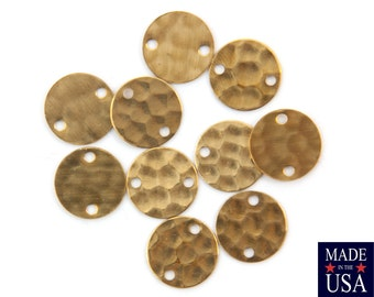 2 Hole Raw Brass Hammered Circle Link Connector 12mm (10) mtl393E