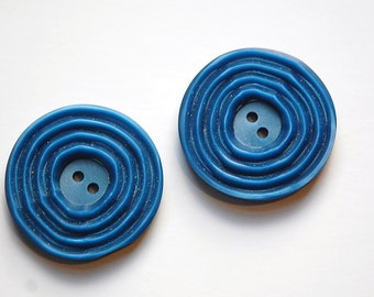 Vintage Blue Etched Plastic Buttons Possible Setting btn023A