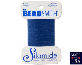 Royal Blue Silamide Waxed Nylon Beadstring Size A (40 Yards) CSL7669