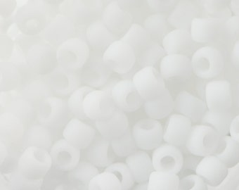 """Opaque Frosted White Toho Seed Bead 8/0 2.5"""" Tube TR-08-41F/C"""