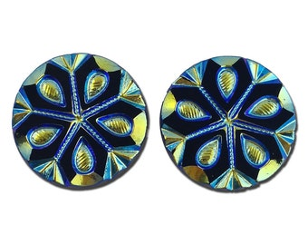 Blue Green Iridescent Snowflake Etched Czech Glass Cabochon 22.5mm (2) cab905B