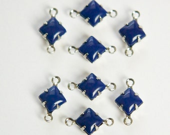 Opaque Blue Square Glass Stones in 2 Loop Silver Setting 6mm squ013BB2