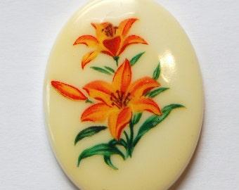 Vintage Yellow Orange Lily Flower Cabochon 40x30mm cab746E