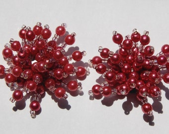 Darker Rose Pearl and Seed Bead Spray Appliques Cabochons btn001L