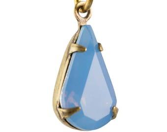 Blue Opal Faceted Teardrop Stone in 1 Loop Brass Ox Setting par016AW