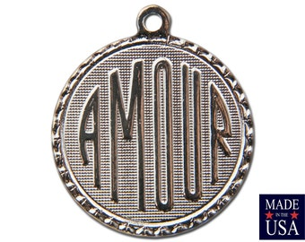 Silver Plated Amour Word Charm Drop with Loop (1) chr221DD