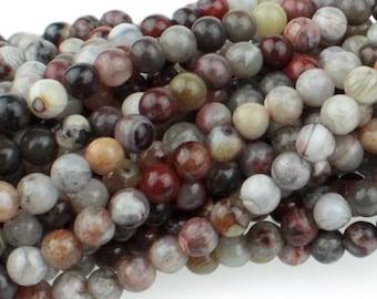 "Dakota Stones Mexican Lace Laguna Agate 4mm Round Gemstones. 8"" Strand. MLA4RD-8"