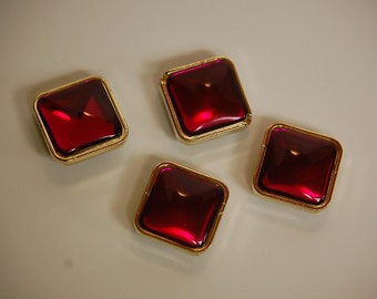 Vintage Acrylic Rose Red Channel Set Diagonal Square Beads bds996C